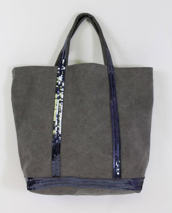Grey tote bag, sale bag, cotton beach bag, sequin bag, sequin shopper, cotton bag, sequin tote bag, Vanessa Bruno style