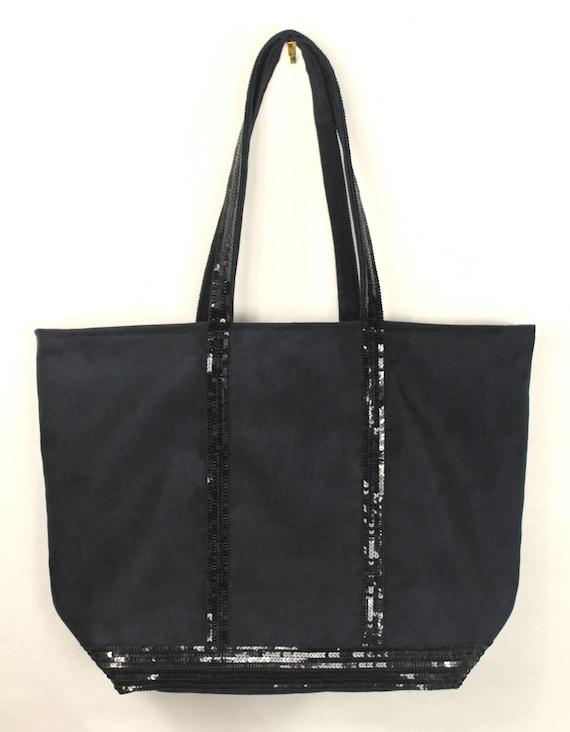 Grand sac cabas suédine noir style Vanessa Bruno