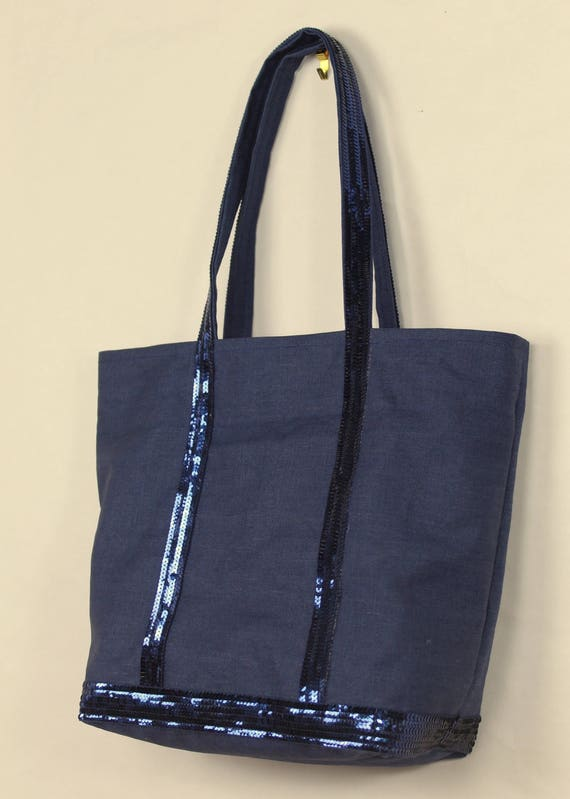 Natural linen waterproof tote bag with pale gold sequins Vanessa Bruno style