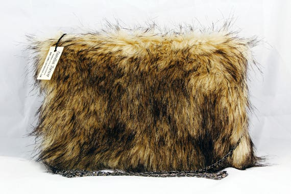 Fake fur clutch bag, fur handbag, faux fur hand bag, fur clutch, fur shoulder purse, fur purse