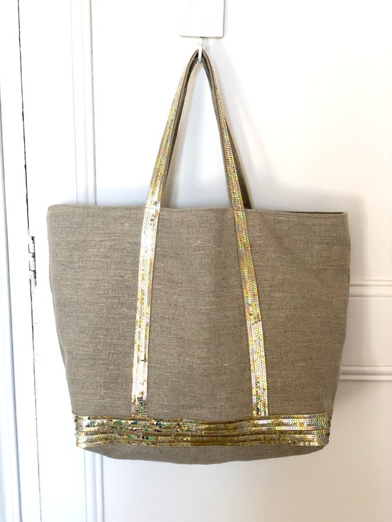 Large supple linen tote bag with gold pearly sequins