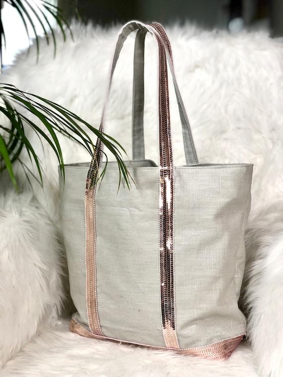 Light grey coated  linen sequin tote bag powder pink sequins