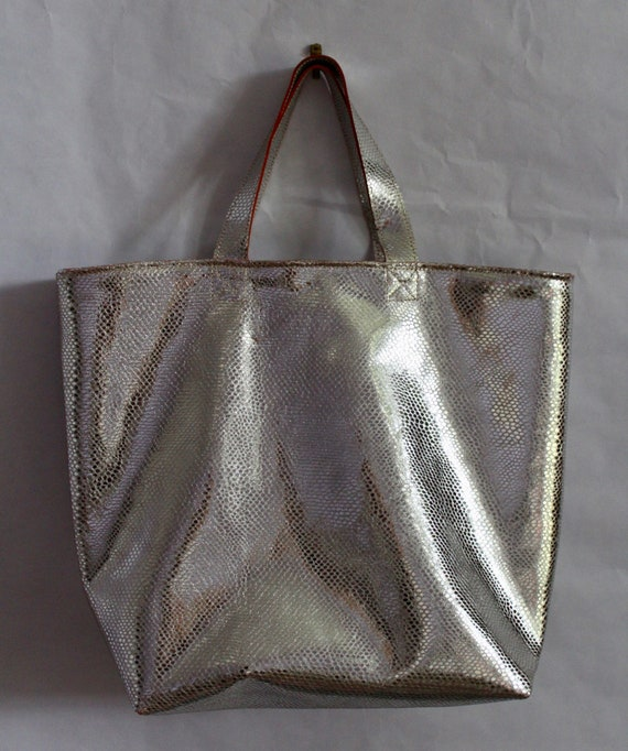 Silver leather snake skin effect  tote bag