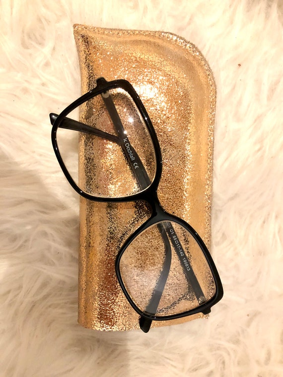 Gold pink leather glasses case