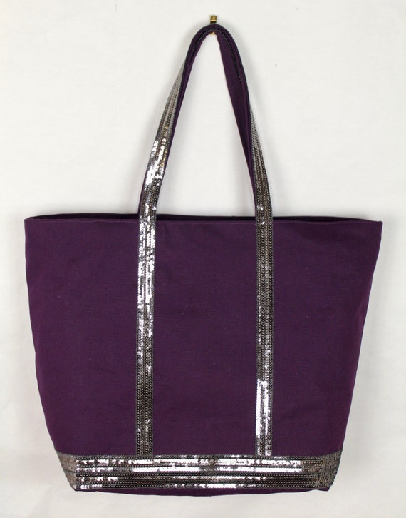Vanessa Bruno style beautiful cotton eggplant tote bag with silver sequins