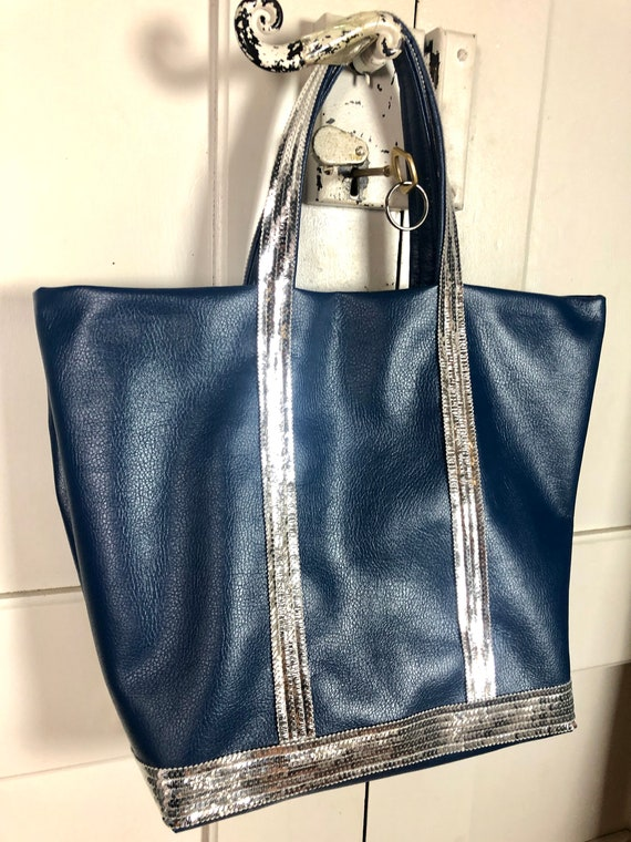 Vanessa Bruno style blue faux leather tote bag with silver  sequins