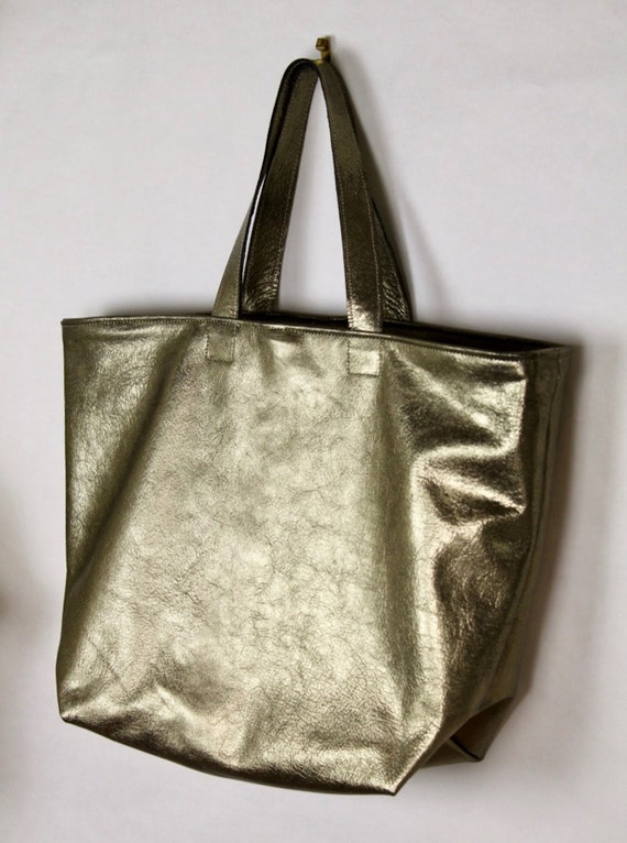 Vintage gold leather tote bag