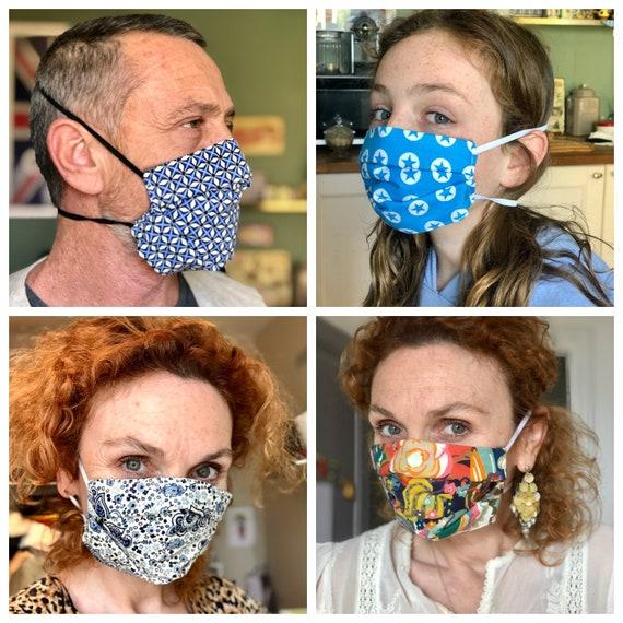 Man elastic face mask behind