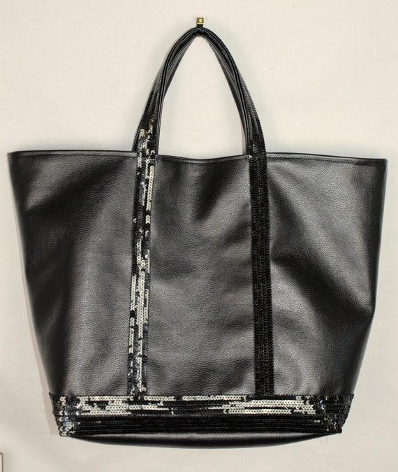 Vanessa Bruno tote, black sequin tote, sequin shopper, it bag, leather purse, black sequin purse, gift for her, valentine gift, school bag