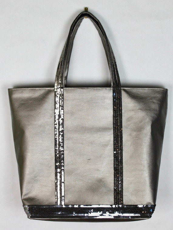 Vanessa Bruno tote,  faux leather tote, sequin tote bag, office bag, gift for her, school bag, sequin shopper, it bag, on trend bag