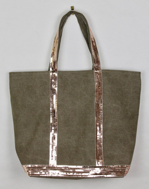 Canvas khaki tote bag