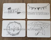Stylish Zen cards for any occasion. Set of 4 pieces. Handlettered design. West Flemish Key Words