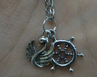 Captain Swan Necklace; Once Upon A Time Necklace; OUAT Necklace; Emma Swan; Storybrooke; Gift For Her; Made in Italy