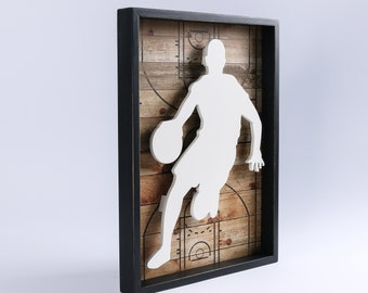 Basketball Player Wooden Wall Decor, Basketball Player Silhouette,Man Cave,  Kids Room Decor,Sports Decor,Unique Gifts For Him,men,sons,coach