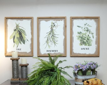 Wood Framed Kitchen Herb Prints Framed Wall Decor with Culinary Herbs on Burlap Botanical Print Kitchen ArtUnique Gifthost gift & Framed kitchen art | Etsy