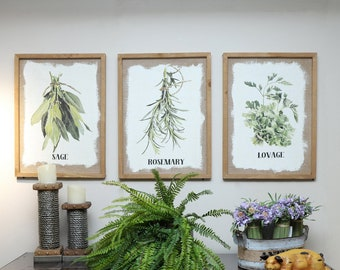 Wood Framed Kitchen Herb Prints Framed Wall Decor with Culinary Herbs on Burlap Botanical Print Kitchen ArtUnique Gifthost gift : kitchen framed art - hauntedcathouse.org
