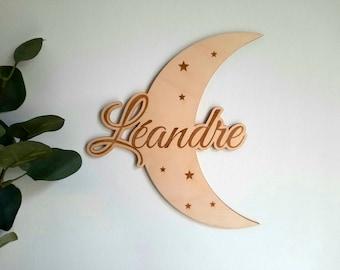 Custom wall decoration moon baby room - birth gift