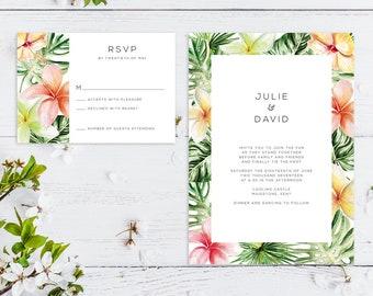 Printable Wedding Invitation | RSVP | Details Card | Evening | PDF | Download | Custom | Tropical Botanical | Watercolour | Julie suite #015