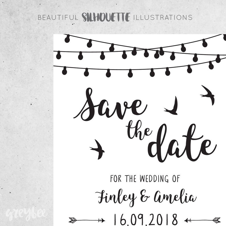 Rustic PDF Custom Printable Save the Date Download Simple Rustic Wedding Announcement Amelia suite #062 Modern Outdoor