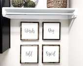 SET OF FOUR Signs | Wash Dry Fold Repeat Sign | Laundry Room Wall Decor | Laundry Room Sign Fixer Upper | Farmhouse Laundry Room Sign