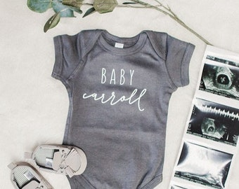 Personalized Last Name Custom Pregnancy Announcement Bodysuit • Hand Lettered Bodysuit • Pregnancy Reveal • Baby Reveal