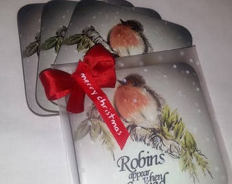 Robin coasters set of 4..Hand drawn.. Christmas gift. Robins appear when loves one are near.