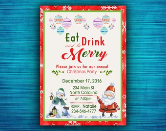Eat Drink and Be Merry Invitation-Christmas Party Invites-Christmas Party Printable-Eat Drink and Be Merry - Holiday Party Invite