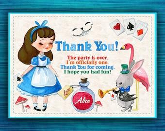 Alice in Wonderland Thank You Card-Wonderland Thank You-Alice In Wonderland Thank You -Tea Party Thank You Cards Alice In Wonderland