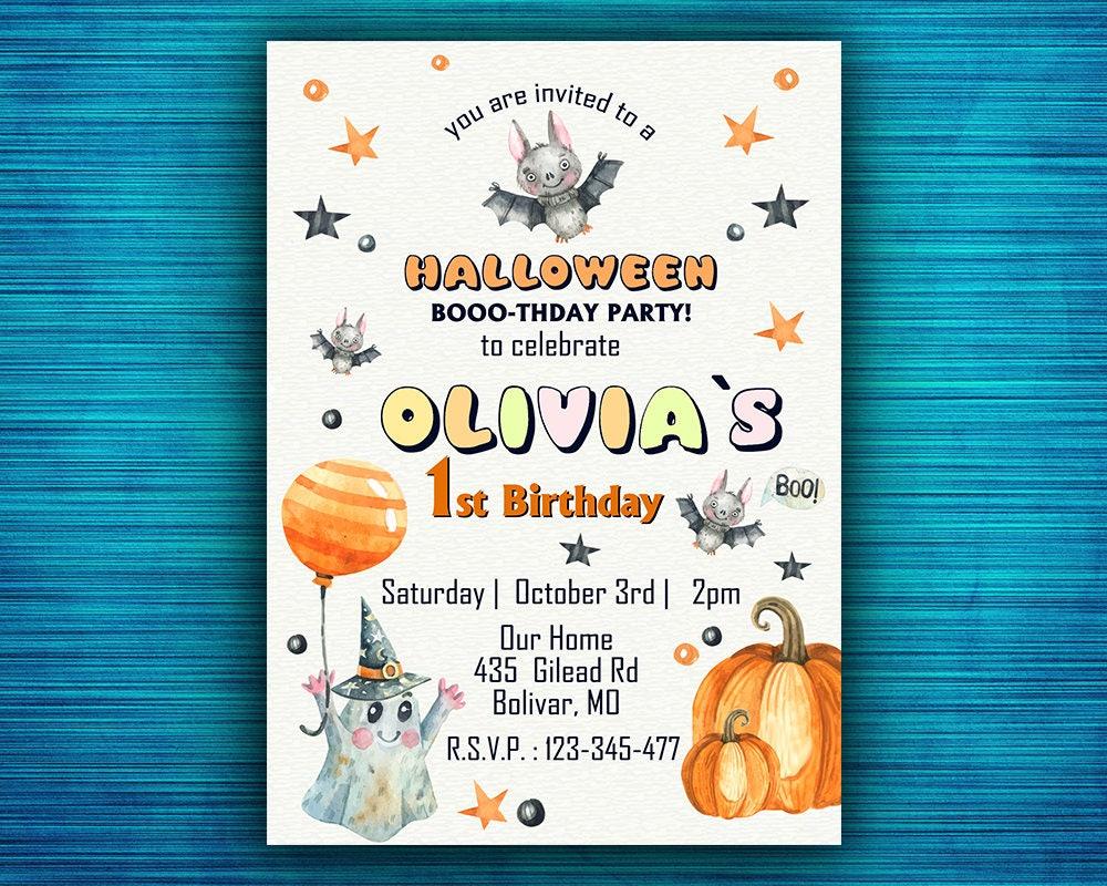 1st Birthday Halloween Invitation Personalized Boo Tiful
