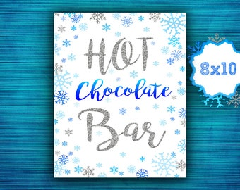 Hot Chocolate Bar Sign - Winter Onederland Decorations - Blue Silver  Snowflake - Winter Baby Shower-Decorations Party- instant download