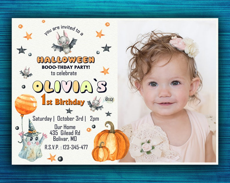 1st Birthday Halloween Invitation Personalized Boo Tiful