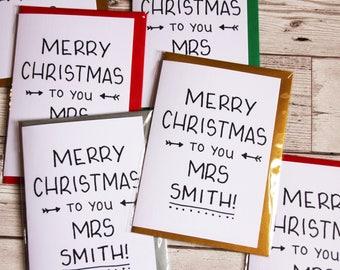 teacher christmas card christmas card for teacher end of term christmas card custom teacher card modern teacher card card for teacher
