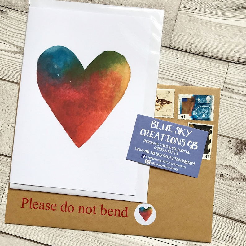 LARGE rainbow heart card, anniversary card, colourful girlfriend card, love  you card, boyfriend card, personalised husband wife rainbow card