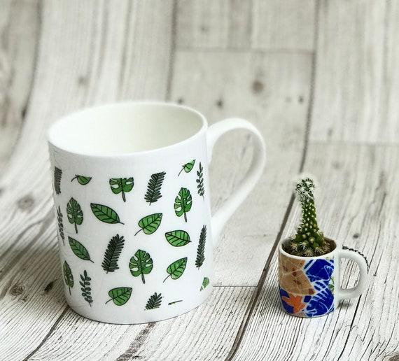 Small Leaf Mug Bone China Leaf Mug Leaf Mug Leaf Print Mug Etsy