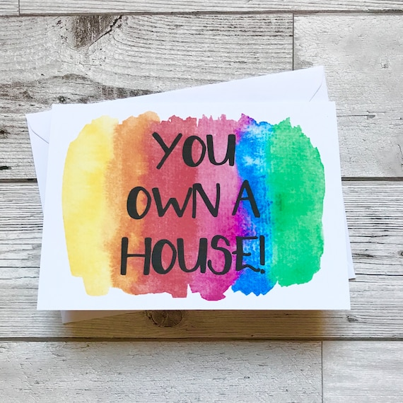 Congratulations You/'ve Bought Your First Home Funny New Home Card Blue Beryl