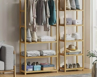Heavy duty Bedroom open closet bamboo wooden large armoire wardrobe clothes hanger drawers dresser