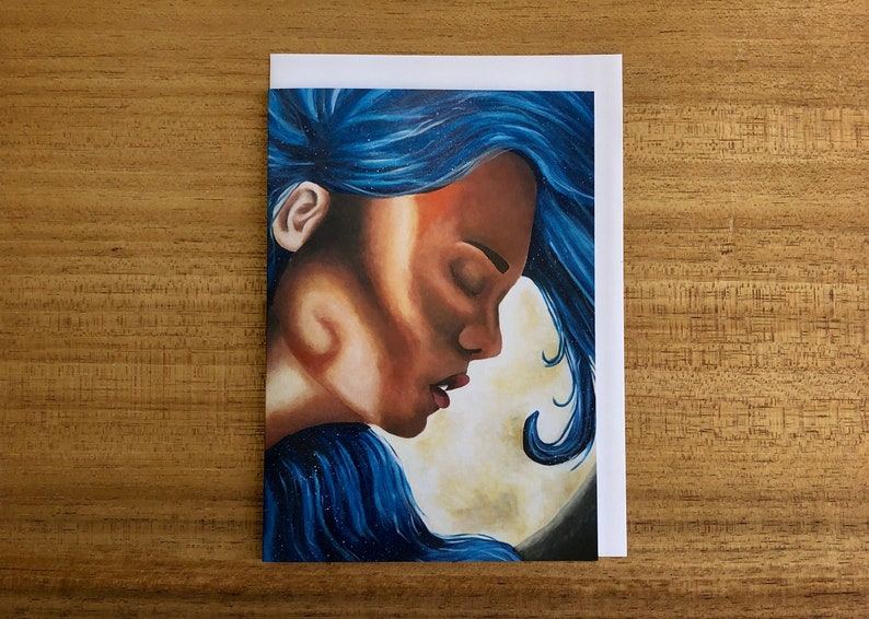 face peace Illuminate Galaxy Portrait greeting card with envelope mindfulness hair moon luna girl stars blue abstract surrealism