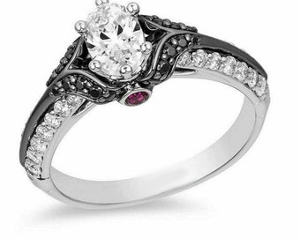 Enchanted Villains Evil Queen Ring Heart Dagger Ring Round Cut Diamond Proposal Ring Woman/'s Wedding /& Engagement Ring  Fine Jewelry