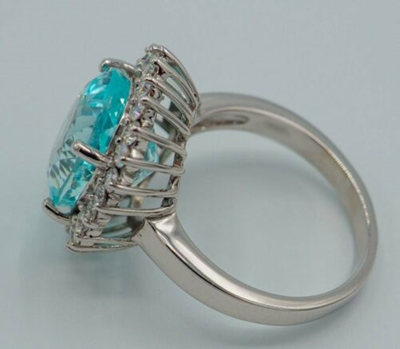 Oval Cut Aquamarine Diamond Engagement Ring SnowFlake Halo Diamond Wedding Ring Solitaire Halo Ring 10K14K18K Gold Or 935 Silver Ring