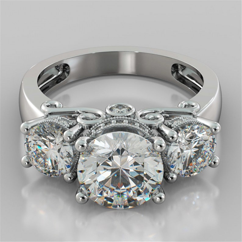 Three Stone Ring With Curved Band Round Cut Diamond 3 Piece Ring Set Woman/'s Wedding Bridal Ring Set Engagement Ring SetHandmade Jewelry
