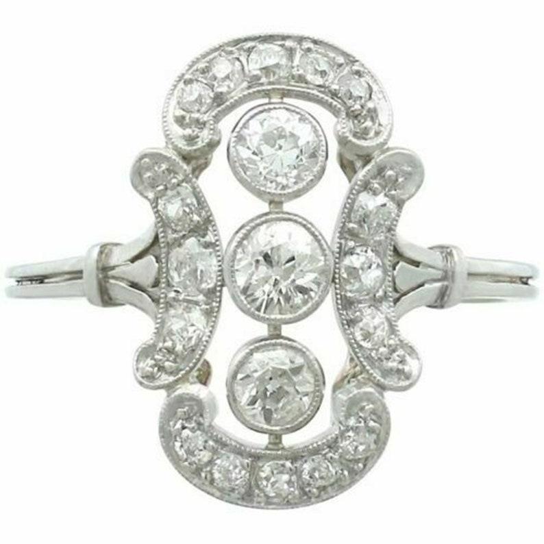 Old European Cut Diamond Three Stone Ring Openwork Vintage Ring Bezel Set Edwardian Ring Woman/'s Wedding /& Engagement Ring Fine Jewelry