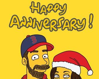 Custom Portrait, Anniversary Gift, Couple Drawing, Caricature Portrait, Custom Caricature, Simpsons Character, Custom Simpsons, Couple Gift