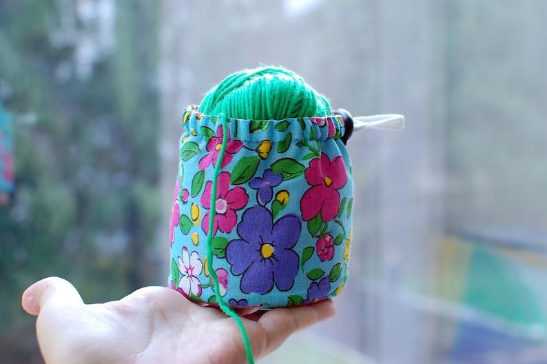 Ball sack yarn ball bag yarn bowl Flowers Knitting Crochet bag Storage yarn cozy Knitting Project Bag Small Yarn Bowl Yarn Bucket