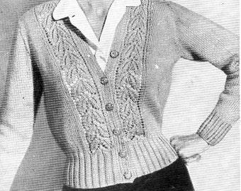 "ladies cardigan knitting pattern PDF womens DK cardigan Vintage 40s leaf pattern 34-36"" DK light worsted 8ply instant download"