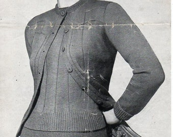 Vintage womens twinset knitting pattern PDF womens 3 ply cardigan sweater jumper Vintage 40s 38 inch 3ply pdf Instant download