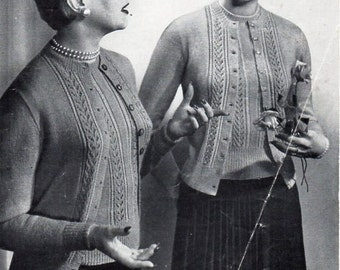 Vintage womens twinset knitting pattern PDF ladies 3 ply cardigan sweater jumper Vintage 40s 34-38 inch 3ply Instant Download