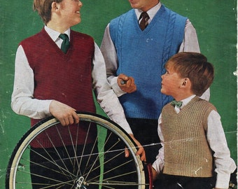 "vintage childrens slipovers knitting pattern PDF boys sleeveless sweaters pullovers 26-34"" DK light worsted 8ply Instant download"