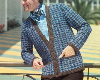 mens crochet jacket pattern crochet pattern PDF mans crochet cardigan Vintage 70s 34-44 inch aran 10ply worsted instant download