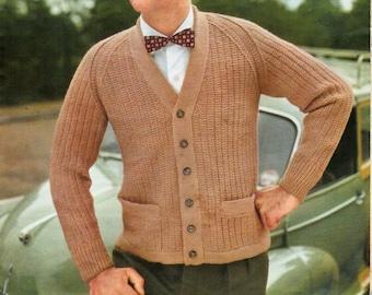 mens cardigan knitting pattern pdf dk ribbed v neck jacket with pockets Vintage 50s 37-41 inch DK light worsted 8ply Instant download