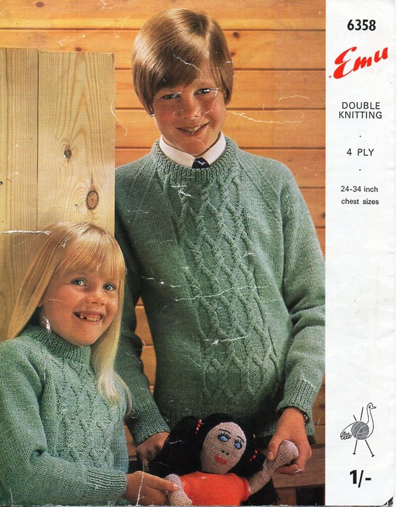 2397aa45abbd Vintage childrens sweater knitting pattern PDF cable jumper